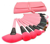 makeup brushes - Professional Makeup Brushes Set Charming Pink Cosmetic Face Eyeshadow Brushes set leather pouch FREE GIFT
