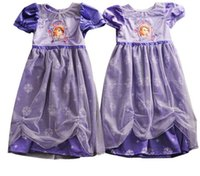 TuTu Summer A-Line 2015 GIRL SOFIA Nightgown Dress dresses girl Baby kids dress Children's girls pajamas princess Princess cartoon short sleeve TULLE party A4