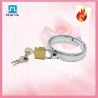 Wholesale 2015 new bondage Female Handcuff With Lock stainless steel chastity devices wrist restraint sex toys for women