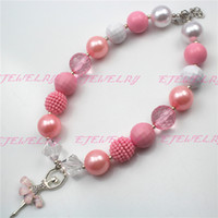 Wholesale New Style Ballet Girl Pink Girls Bubblegum Chunky Necklace statement necklaces CB495