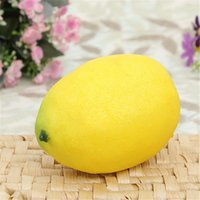 artificial lemon - 1pc Lifelike Simulation Large Lemons Decorative Plastic Solid Artificial Fruit Yellow Cabinet Home Decor Party