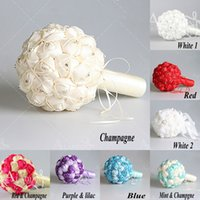 quality silk flowers - 2015 Hotsale style Luxury Wedding Bouquet Hand Made Artifical Beaded Brooch Silk Rose Flower Bride Bridal Bouquets top quality