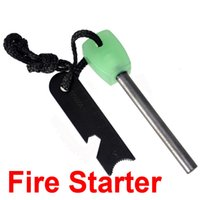 Wholesale DHL mm Large Size Luminous Handle Survival Magnesium Flint Stone Fire Starter Lighter Rod Outdoor Camping Hiking Travel Firestone Kits