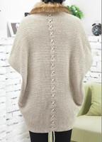 Wholesale 1PCS HHA323 Fashion Fur Trim Sweater for Women Winter Loose Sweater Cardigan Europe High end Lady Bat Sleeve Knit Coat Cape Poncho