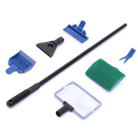 Wholesale 2015 in1 Aquarium Tank Cleaner Supplies Brush Clean Fish Net Gravel Rake Algae Scraper Fork Sponge Cleaning Plant Tools Set