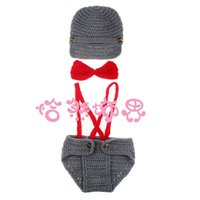 adult beanie baby costume - Boy Newborn Photography Props costume Little Gentleman Outfit Knitted Baby Beanie Hat with Suspenders Bow Tie Set set