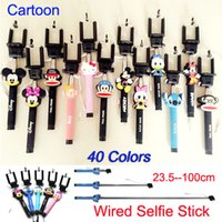 audio cartoons - 2015 Newest Cartoon Selfie Timer Phone Monopod Audio Cable Wired Selfie Stick Extendable Monopod for iPhone S Plus Samsung smartphone