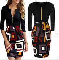 office dresses - New Office OL Work Wear Women Casual Dress Fashion Sexy Vintage Black Cocktail Party Pencil Dresses