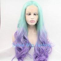 achat en gros de vert afrique-Mode Ombre vert violet Body wave dentelle synthétique avant perruque Glueless longs cheveux résistants à la chaleur cosplay perruques pour l'afrique-américaine Femmes