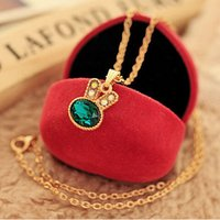 Wholesale No Delivery Costs Latest Classic Elegance Beautiful Sea Green Bunny Control Over Drilling Crystal Necklace