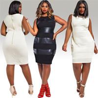 big overalls - SJ0086 Plus size XXXL Nightclubs overalls lady work dress one step PU patchwork oversized dress for women big size black White Dress
