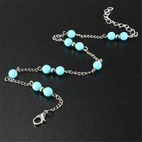 Wholesale Hotting Imitation Fake Turquoise Beads Silver Anklet Foot Chain Ankle Bracelet Jewelry For Women