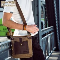 Wholesale Hot TSD brand fashion vintage casual Briefcases bags men solid bags with leatehr patchwork canvas bags khaki
