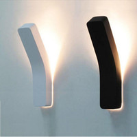 cafe lights - Nordic Brief White Black IKEA Modern Wall Light Bending Cuboid Wall Sconces For Bar Cafe Aisle Loft Wall Lamp