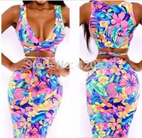 Cheap 2014 New Sexy Fashion Summer Women Two Piece Bodycon Bandage Dress Vintage Celebrity Club Floral Print Mini Casual Dress