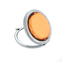 Wholesale Fashion Crystal Luxury Lady Mini Makeup Mirror Travel Compact Pocket Folding Cosmetic Mirror Dual side Magnifying Mirror