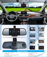 Wholesale 5 quot Android Car rear view mirror Car DVR dual lens camera HD night vision camera GPS Navi function Bluetooth Wifi MP5
