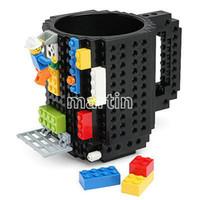Wholesale 2015 Creative DIY Build on Brick Coffee Drink Mugs Lego PixelBlocks Mega Bloks KRE O or K NEX Bricks compatible bricks cup
