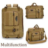Wholesale Mens Vintage Canvas Travel Backpack Rucksack Shoulder Hiking School Bag Satchel
