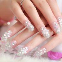 Wholesale Hot Luxury Nail Art Tips Crystal Glitter Rhinestone Bride Nail Art Decoration Wedding Nail Decor Nail Tools PK0028 Kevinstyle
