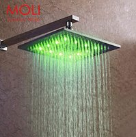 Wholesale led shower head temperature color changing light brass square shower head inch