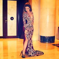 Wholesale Hot Lebanese Singer Myriam Fares Evening Celebrity Dresses Dark Red Deep V Neck Full Embroidered Lace High Split Mermaid Court Train