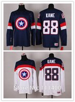 america factory - Factory Outlet Free ship Mens Patrick Kane White Blue Team USA Captain America Fashion Jerseys Hockey Jersey embroidery logo Size M XXX