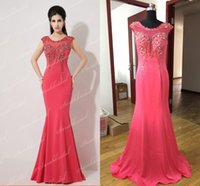Wholesale Cheap Real Image Crystal Formal Evening Dresses Christmas Beads Watermelon Red Sweep Train Mermaid Bridal Prom Party Mother Gowns