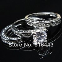Wholesale 3pcs Upscale in Austria Crystal Cubic Zircon Rhinestones k White Gold Engagement Wedding Women Rings A