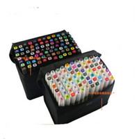 Wholesale 2015 New Portable Marker Pens Set of colors Marker art design Two headed oily pens with gift bag Office School Supplies Free Ship