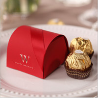 Wholesale 2015 Chinese Red Laser Cut Wedding Favor Holders Gift Boxes Paper Hot Stamping Candy Chocolate Bags With Ribbon Luxury Cheap