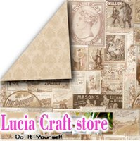 Wholesale 12 vintage Flower pattern Decorative Scrapbooking double sided printed background craft paper