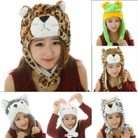 Wholesale Cute Unisex Animal Plush Hat Fluffy Cartoon Warm Winter Earflap Beanie Cap DJD
