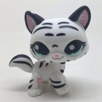 aqua pet - Littlest Pet Shop Tiger White cat kitty Striped With Aqua Blue Eyes LPS