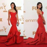 Wholesale Actual Image Sexy Red Nina Dobrev Mermaid Sweetheart Emmy Awards Celebrity Dresses Elegant Taffeta Court Train Backless Sexy Evening Dresses