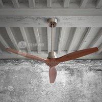 Comedor americana control remoto roble ventilador eléctrico lámpara ventilador de techo del ático sencilla manera de la vendimia Loft Europea