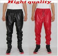 leather joggers - Fashion pu sweatpants men hip hop faux leather pants jogging pants red jogger