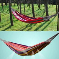 Wholesale 2015 new Portable Cotton Rope Swing Outdoor Fabric Camping Hanging hamaca Hammock Canvas Bed single double bearing