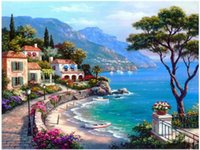 beautiful mosaics - 3d Diamond Painting Full Whole for Square Drill Mosaic Embroidery Cross Stitch About Beautiful Seaside Town Trees