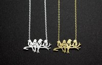 bijoux - 2015 Summer Jewelry Fashion Parrot Charm Necklace Silver Plated Stainless Steel Cute Love Birds Necklace For Women Bijoux