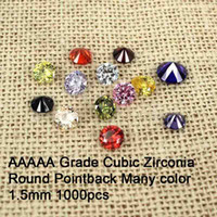 Wholesale Round Cubic Zirconia Stone For Jewelry Accessories mm AAAAA Grade Brilliant Pointback Cubic Zirconia Beads Many Color For Choose