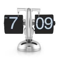 auto set alarm clock - Retro Modern Metal Scale Digital Auto Flip Single Stand Desk Table Alarm Clock Home Distinctive Gift