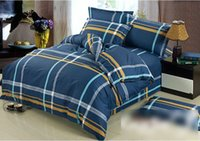 Wholesale 100 Cotton Quilt Doona Duvet Cover Set Boys Navy Blue Stripe Yellow Grey Dark bed linen
