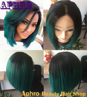 Cheap Cheap Short Black Dark Green Brazilian Hair Bob Ombre Silk Top Full Lace Wig 130%Density Two Tone Glueless Human Hair Front Lace Wigs Sale