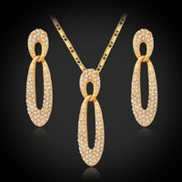 Wholesale New classical Crystal Necklace Set K Real Gold Plated Rhinestone Necklace Earrings Jewelry Sets For Women YS422