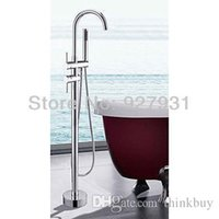 bathtub faucet with sprayer - Solid Brass Floor Standing Double Handle Bathtub Faucet With Sprayer Hand Shower Chrome Finish Mixer Tap