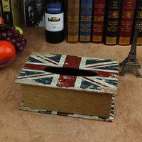 american flag paper - High Quality Home Office Wooden Tissue Box Case holder Creative American Flag Design Decorative Removable Tissue paper Box