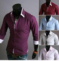 purple polo shirts - 1PCS Men Elegant Purple Long sleeved Slim Shirt Mens Business Shirt Mens Polo Tshirt Men Casual Shirts