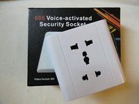 Wholesale Home Office Wall Socket Hidden covert camera voice activated Spy Socket camera digital Video Recorder Mini DVR white in retail box
