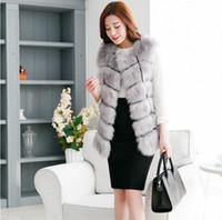 Wholesale 2016 Winter Women Plus Size Faux Fur Coat Fashion Long Mink Vest Jackets Faux Fox Fur Vest Ladies Outwear Fur Coats for Women